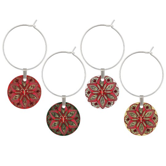 Red and Gold Zodiac Sign Aries Mandala Wine Glass Charms
