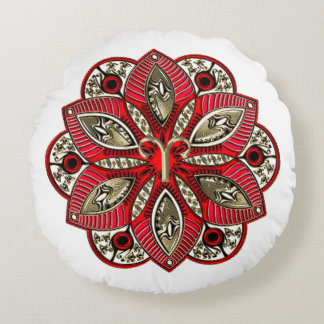 Red and Gold Zodiac Sign Aries Round Pillow