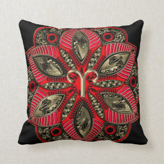 Red and Gold Zodiac Sign Aries Throw Pillow
