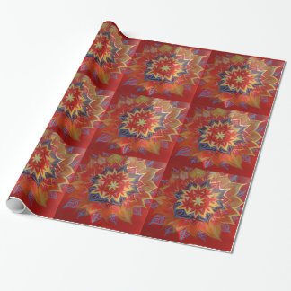 Red and golden mandala  Glossy Wrapping Paper