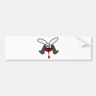 Red and Gray Cartoon Mosquito with Drop of Blood Bumper Sticker