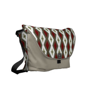 red and gray diamond pattern messenger bag
