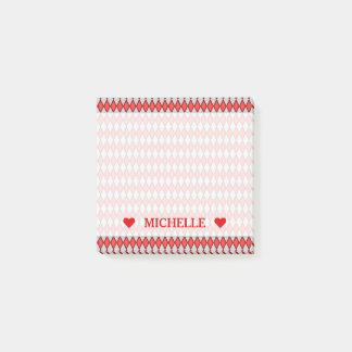 Red and Gray Diamond Shape Pattern & Custom Name Post-it Notes