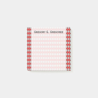 Red and Gray Diamond Shape Pattern + Custom Name Post-it Notes