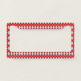 Red and Gray Diamond Shape Pattern License Plate Frame