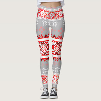 Red and Gray Fair Isle Snowflake Leggings
