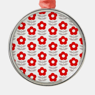 Red and Gray Flower Pattern Silver-Colored Round Ornament
