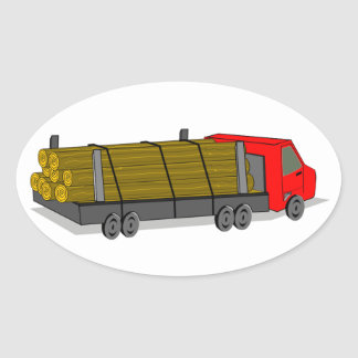 Red and Gray/Grey Logging Truck Transporting Logs Oval Sticker