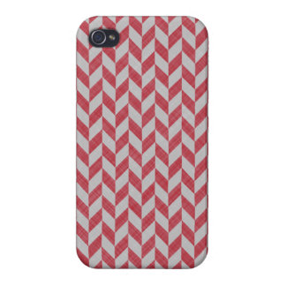 RED AND GRAY HERRINGBONE PATTERN iPhone 4 CASES