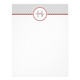 Red and Gray Quatrefoil Letterhead