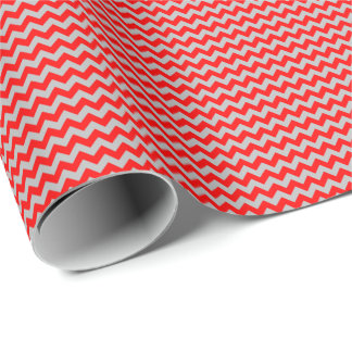 Red and Gray Small Chevron Wrapping Paper