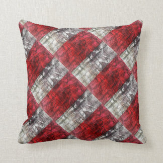 Red And Gray Textured Rectangles Retro Pattern Throw Pillow