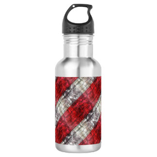 Red And Gray Textured Stripes 532 Ml Water Bottle
