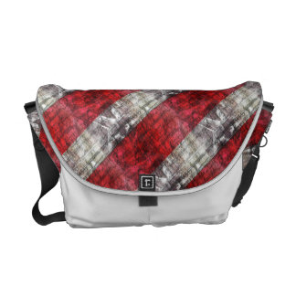 Red And Gray Textured Stripes Courier Bag