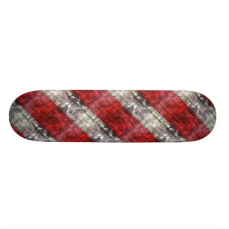 Red And Gray Textured Stripes Skateboard Deck