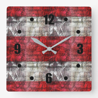 Red And Gray Textured Stripes Square Wall Clock