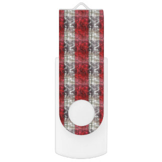 Red And Gray Textured Stripes Swivel USB 2.0 Flash Drive