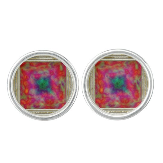 Red And Green Abstract Cuff Links