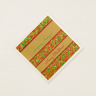Red and Green Abstract Floral - Personalized Paper Napkin