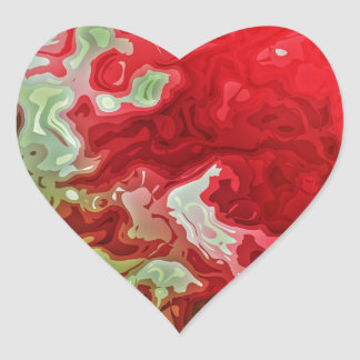 Red And Green abstract Heart Sticker
