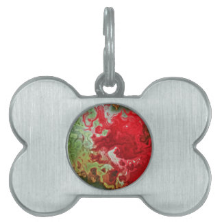 Red And Green abstract Pet ID Tags