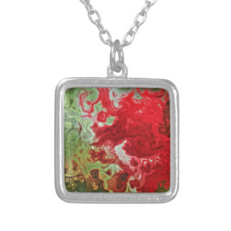 Red And Green abstract Silver Plated Necklace