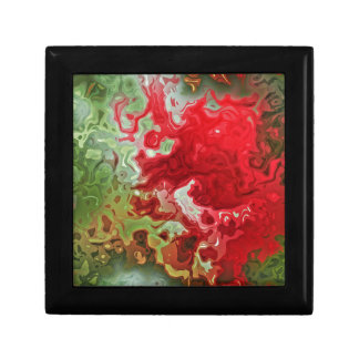 Red And Green abstract Trinket Box