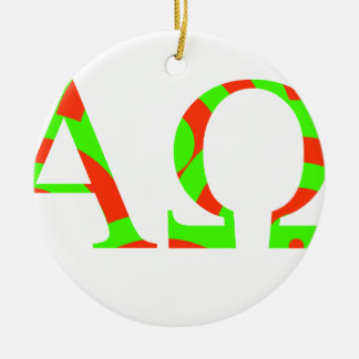 Red and Green Alpha and Omega Design Round Ceramic Ornament