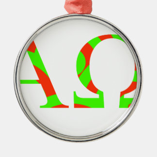 Red and Green Alpha and Omega Design Silver-Colored Round Ornament