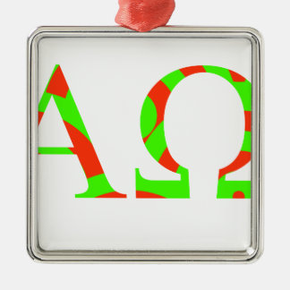 Red and Green Alpha and Omega Design Silver-Colored Square Ornament
