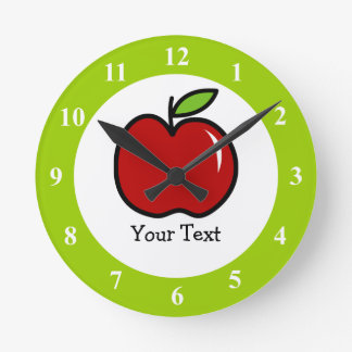 Red and green apple wall clock for school teachers