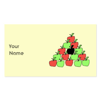 Red and Green Apples. Pool Balls, Triangle. Business Card