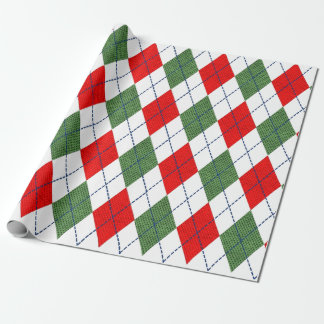 Red and Green Argyle Print Christmas Gift Wrap