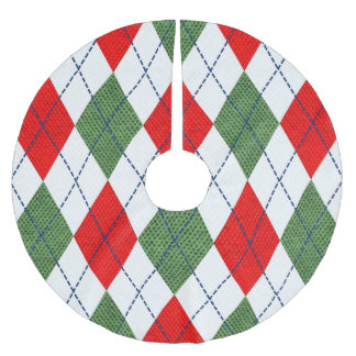 Red and Green Argyle Print Christmas Tree Skirt