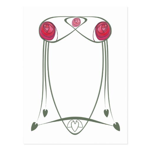 Red and Green Art Nouveau Roses Design Post Cards