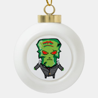 Red and green cartoon Halloween Frankenstein Ceramic Ball Christmas Ornament
