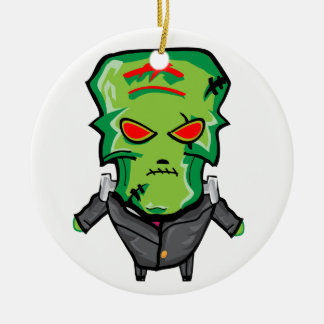 Red and green cartoon Halloween Frankenstein Ceramic Ornament