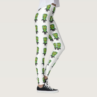 Red and green cartoon Halloween Frankenstein Leggings