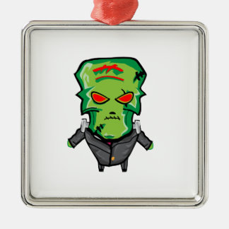 Red and green cartoon Halloween Frankenstein Metal Ornament