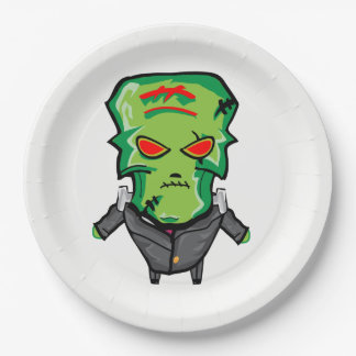 Red and green cartoon Halloween Frankenstein Paper Plate