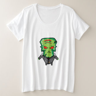 Red and green cartoon Halloween Frankenstein Plus Size T-Shirt