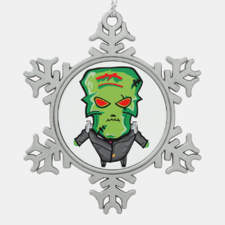 Red and green cartoon Halloween Frankenstein Snowflake Pewter Christmas Ornament
