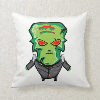 Red and green cartoon Halloween Frankenstein Throw Pillow