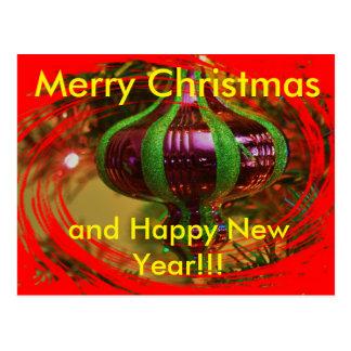 Red and Green Christmas Bulb  Christmas Post Card
