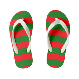 Red and Green Christmas Cabana Stripes Kid's Flip Flops