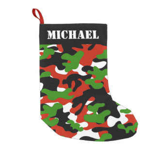 Red and Green Christmas Camo Small Christmas Stocking