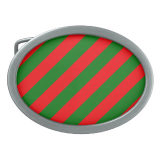 Red and Green Christmas Candycane Stripes Belt Buckle