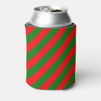 Red and Green Christmas Candycane Stripes Can Cooler