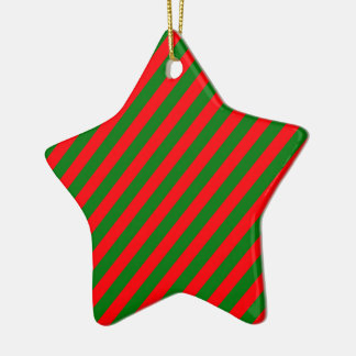 Red and Green Christmas Candycane Stripes Ceramic Ornament