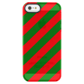 Red and Green Christmas Candycane Stripes Clear iPhone SE/5/5s Case